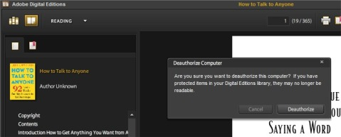 Deauthorize Adobe Digital Editions