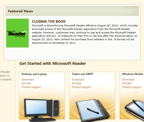 Discontinuation of Microsoft Reader