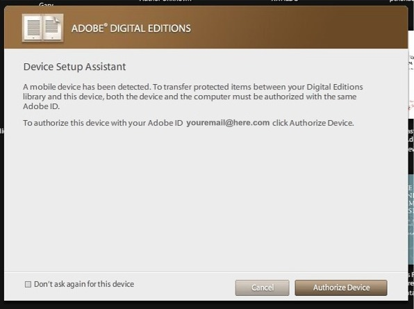how to authorize adobe digital editions
